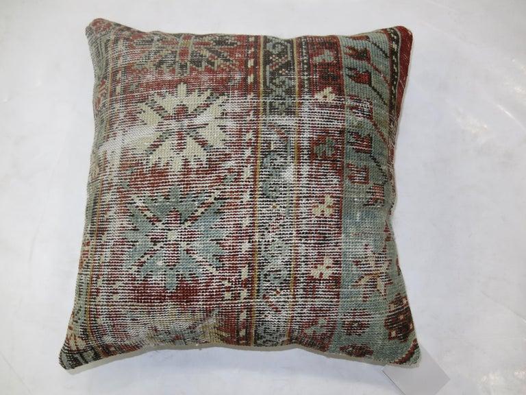 Biedermeier Light Blue Red Shabby Chic Caucasian Rug Pillow For Sale