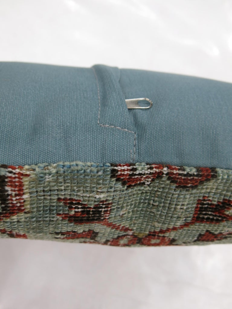 Light Blue Red Shabby Chic Caucasian Rug Pillow In Distressed Condition For Sale In New York, NY