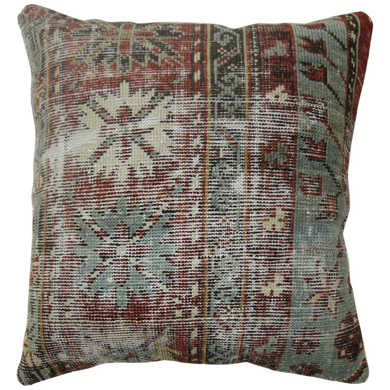 Light Blue Red Shabby Chic Caucasian Rug Pillow For Sale