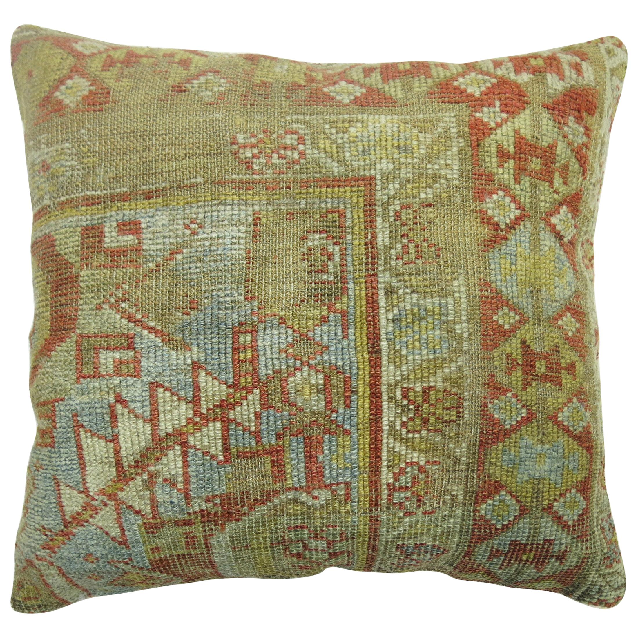 Light Blue Rust Color Antique Persian Malayer Oriental Traditional Rug Pillow