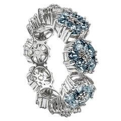 Light Blue Topaz Blossom Gemstone Trinity Ring