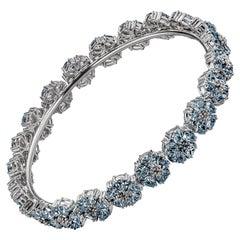 Light Blue Sapphire Blossom Gemstone Wraparound Bracelet