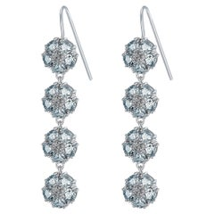 Light Blue Sapphire Blossom Gentile Chandelier Earrings