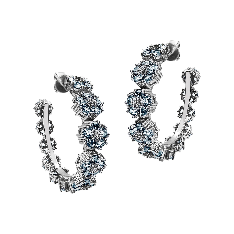 Light Blue Topaz Blossom Gentile Medium Gemstone Hoops