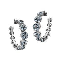 Light Blue Sapphire Blossom Gentile Gemstone Hoops