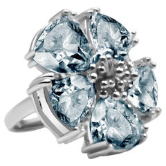 Light Blue Sapphire Blossom Large Stone Ring