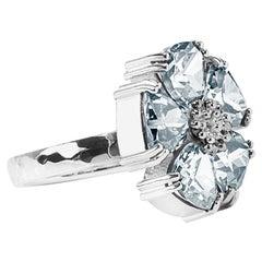 Light Blue Topaz Blossom Large Stone Ring