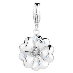 Light Blue Sapphire Blossom Pave Detachable Charm/Pendant