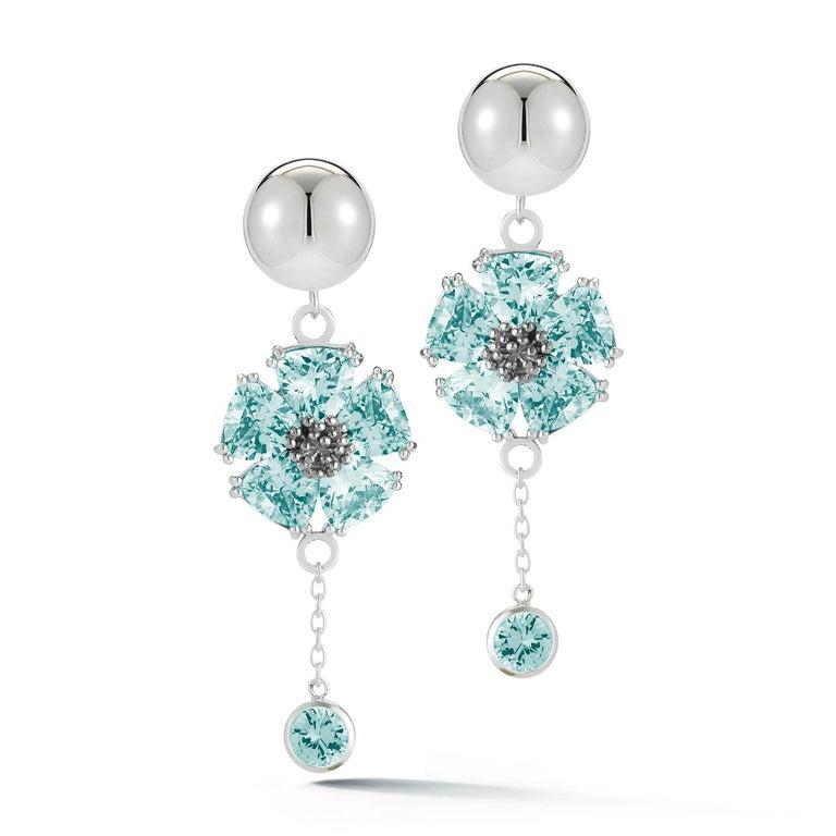 Modern Light Blue Sapphire Blossom Stone Bezel Earrings For Sale
