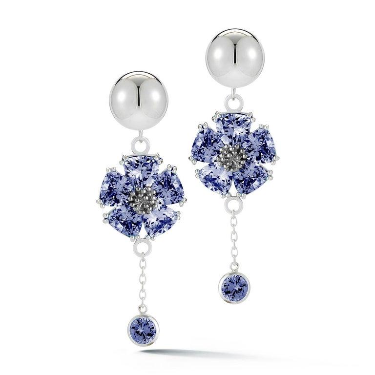Trillion Cut Light Blue Sapphire Blossom Stone Bezel Earrings For Sale