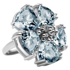 Light Blue Topaz Blossom Stone Ring