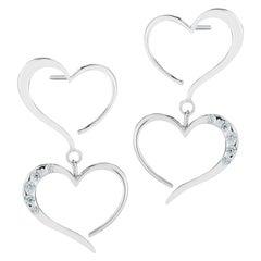 Light Blue Sapphire Double Heart Pave Dangle Earrings