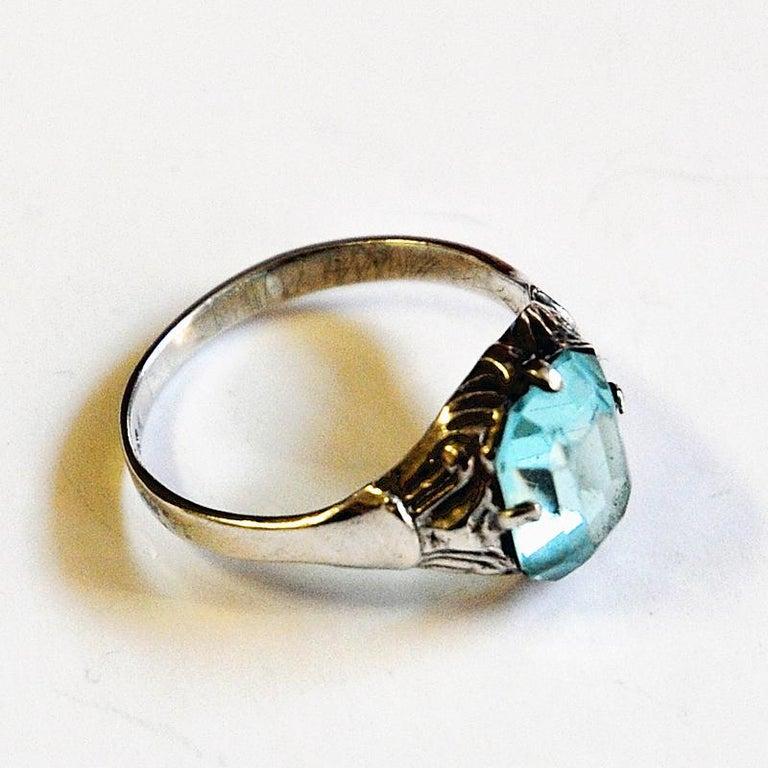 Scandinavian Modern Light Blue Stone Silver Ring by KE Palmberg for Alton, Sweden, 1970s