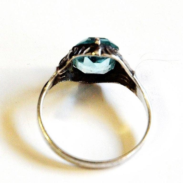 Swedish Light Blue Stone Silver Ring by KE Palmberg for Alton, Sweden, 1970s