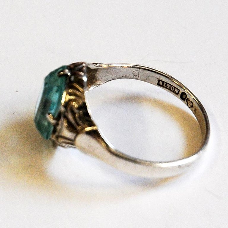 Light Blue Stone Silver Ring by KE Palmberg for Alton, Sweden, 1970s In Good Condition In Stockholm, SE