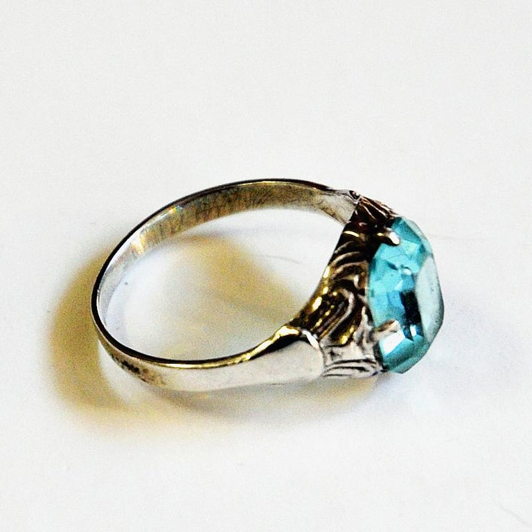 Late 20th Century Light Blue Stone Silver Ring by KE Palmberg for Alton, Sweden, 1970s