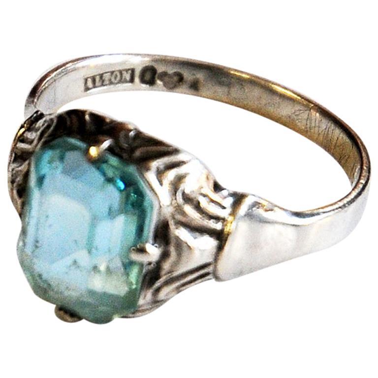 Light Blue Stone Silver Ring by KE Palmberg for Alton, Sweden, 1970s