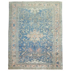 Light Blue Terracotta 20th Century Room Size Pigeon Motif Persian Malayer Rug