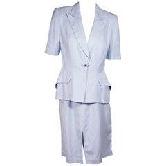 Thierry Mugler Light Blue Skirt Suit Set