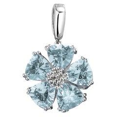 Light Blue Topaz Blossom Stone Pendant