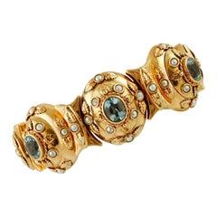 Light Blue Topaz, Pearls, 14 Karat Rose Gold 1950s Bracelet