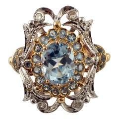 Light Blue Topazes, Diamonds, Aquamarine, 9 Karat Gold and Silver Vintage Ring