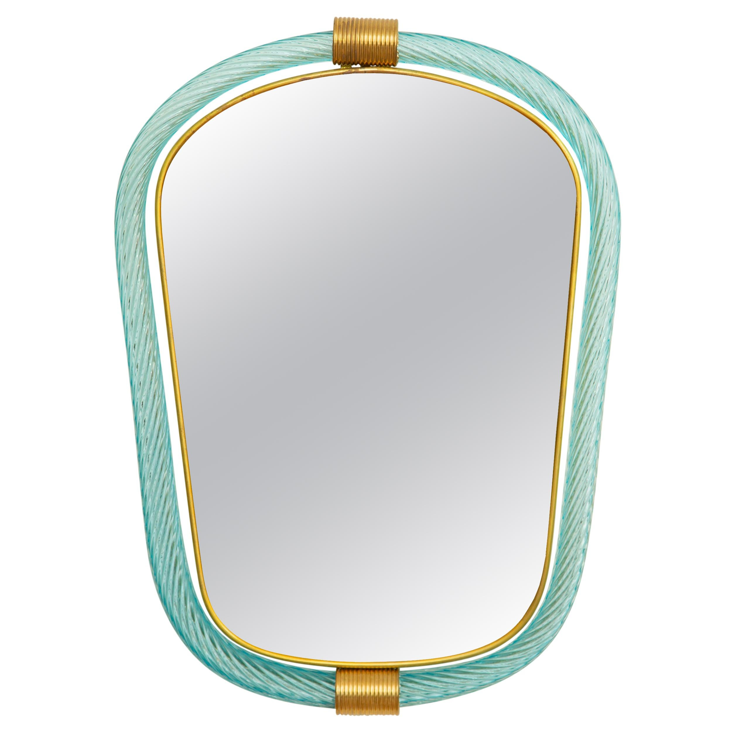 Light Blue Twisted Rope Murano Glass Mirror, in Stock