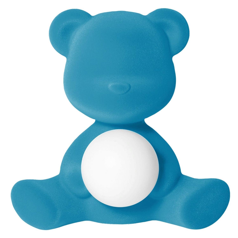 Light Blue Velvet Teddy Bear Lamp LED