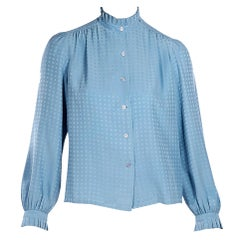 Light Blue Vintage Chanel Boutique CC Logo-Embroidered Blouse