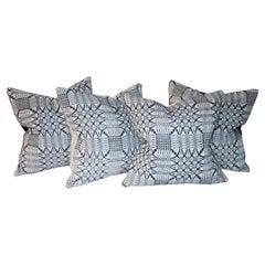Light Blue & White 19thc Coverlet Pillows 4