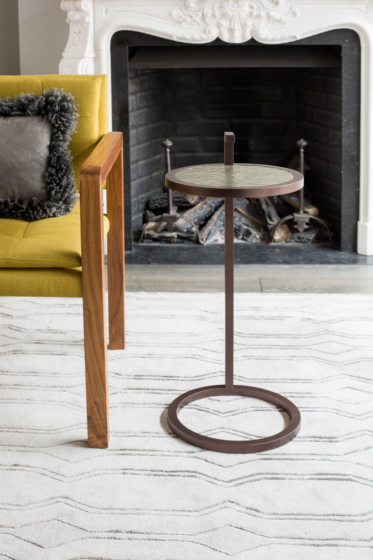 Art Deco Light Bronze Kangaroo Martini Table in Powder Coated Cracked Gesso For Sale