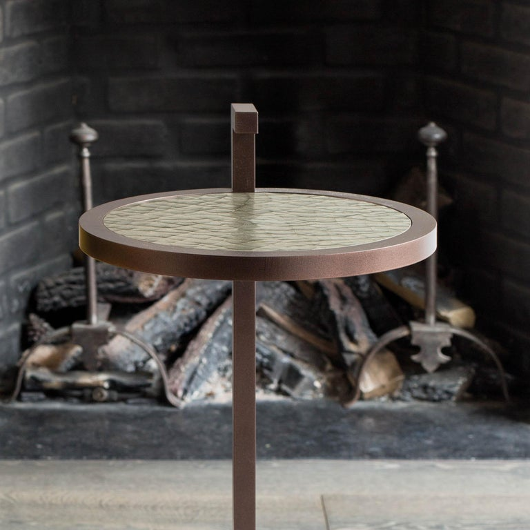 Powder-Coated Light Bronze Kangaroo Martini Table in Powder Coated Cracked Gesso For Sale