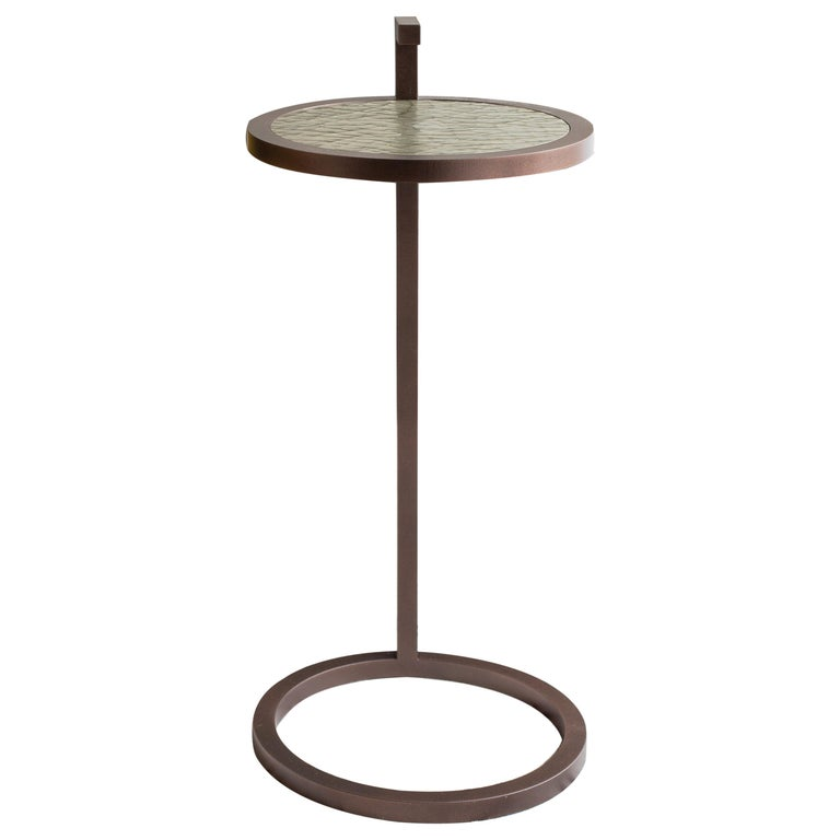 Light Bronze Kangaroo Martini Table in Powder Coated Cracked Gesso For Sale