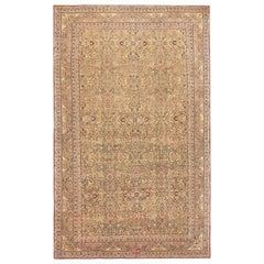 "Light Brown Background Antique Persian Kerman Carpet. Size: 11' 6"" x 17' 9"""