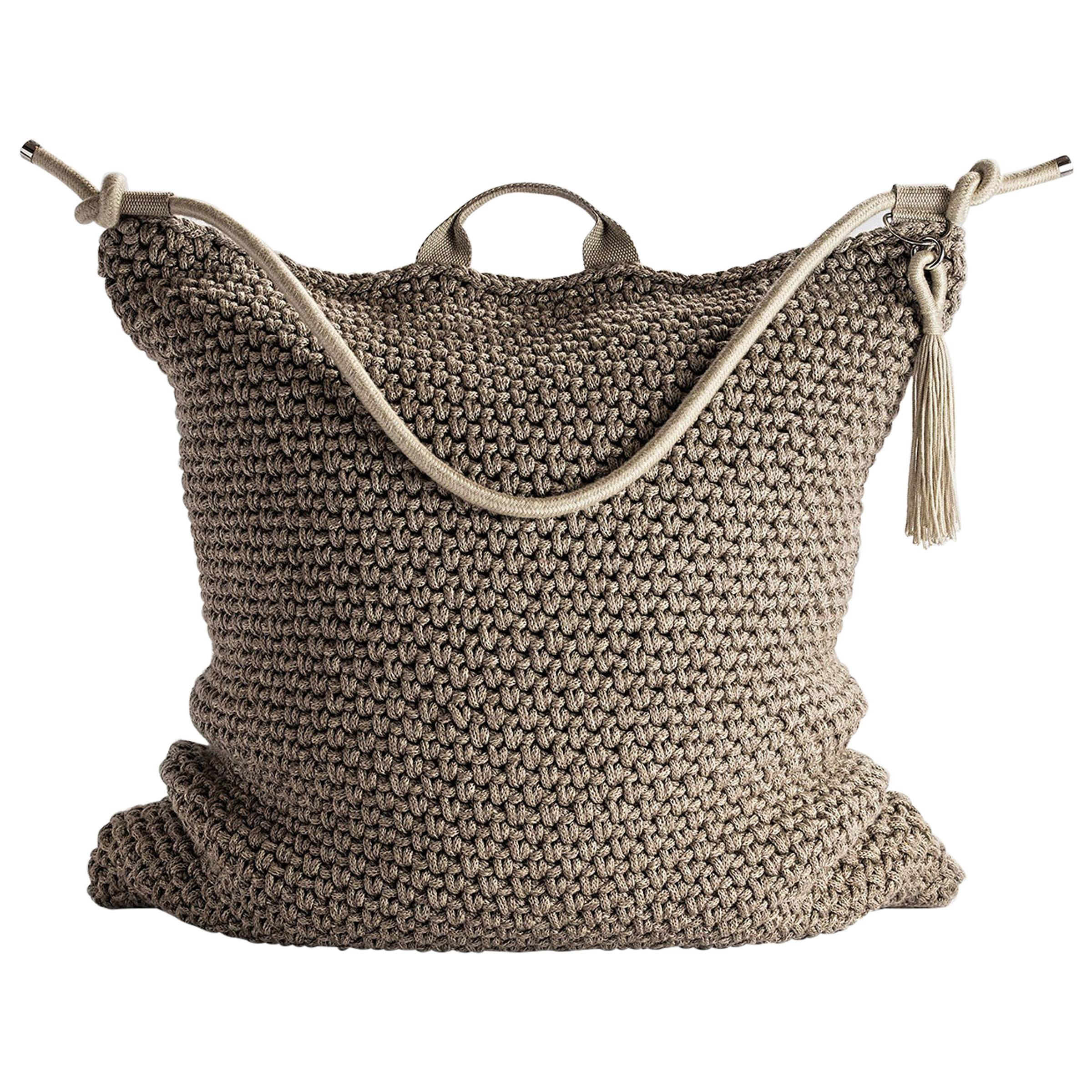 Brown Beige Outdoor Indoor Bag Cushion Handmade Crochet in UV Protected Yarn