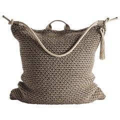 Brown Beige Outdoor Indoor Bag Cushion Handmade Crochet in UV Protected Yarn