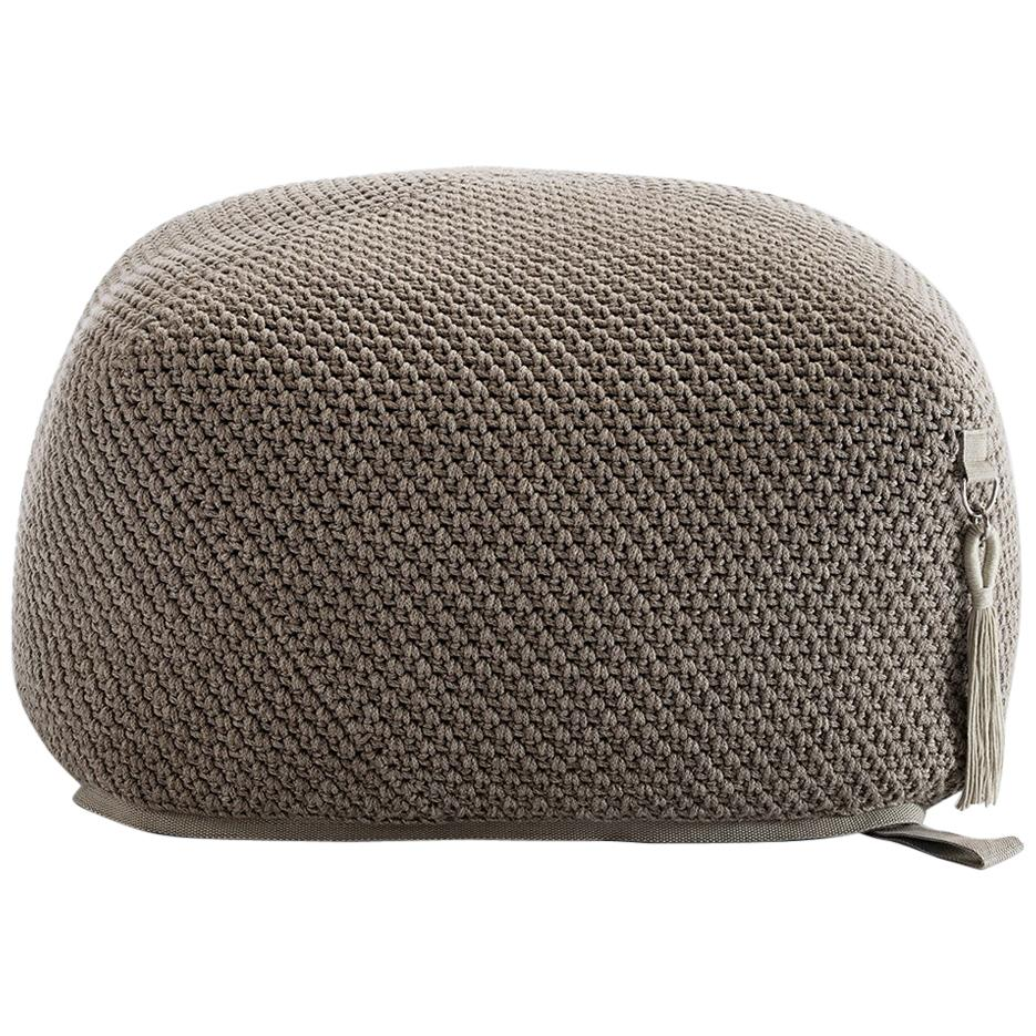 21st Century Asian Light Brown Beige Outdoor Indoor Handmade Pouf