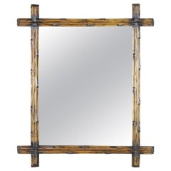 Light Brown Black Forest Wall Mirror with Blackened Accents, Austria, circa 1890