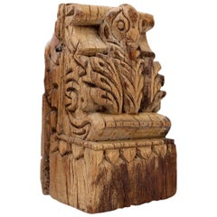 Light Brown Carved Wood Architectural Fragment