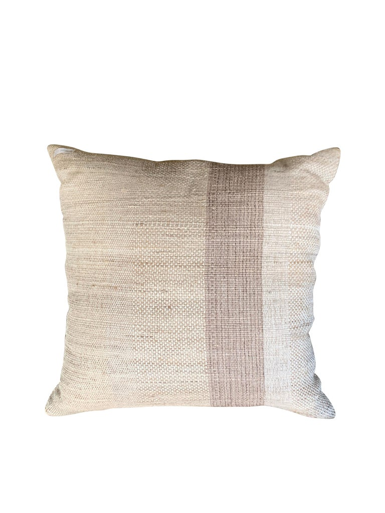 Light Brown, Dark Brown Animal Print Pattern Handspun Linen Pillows, Indonesia 5
