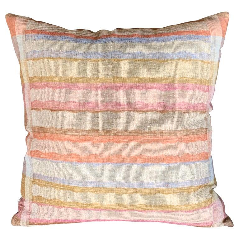 Light Brown, Dark Brown Animal Print Pattern Handspun Linen Pillows, Indonesia 7