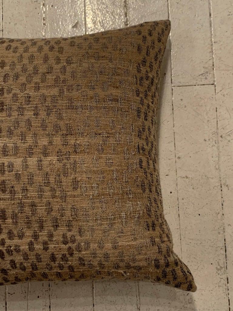 Indonesian Light Brown, Dark Brown Animal Print Pattern Handspun Linen Pillows, Indonesia