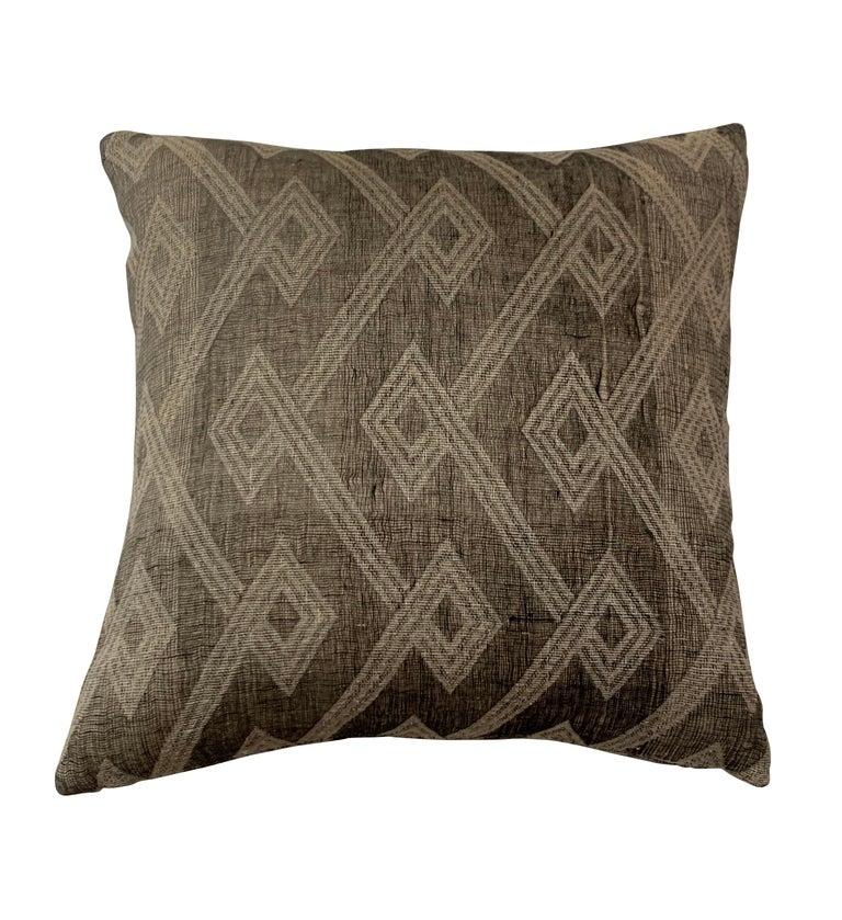Light Brown, Dark Brown Animal Print Pattern Handspun Linen Pillows, Indonesia 1