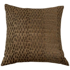 Light Brown, Dark Brown Animal Print Pattern Handspun Linen Pillows, Indonesia
