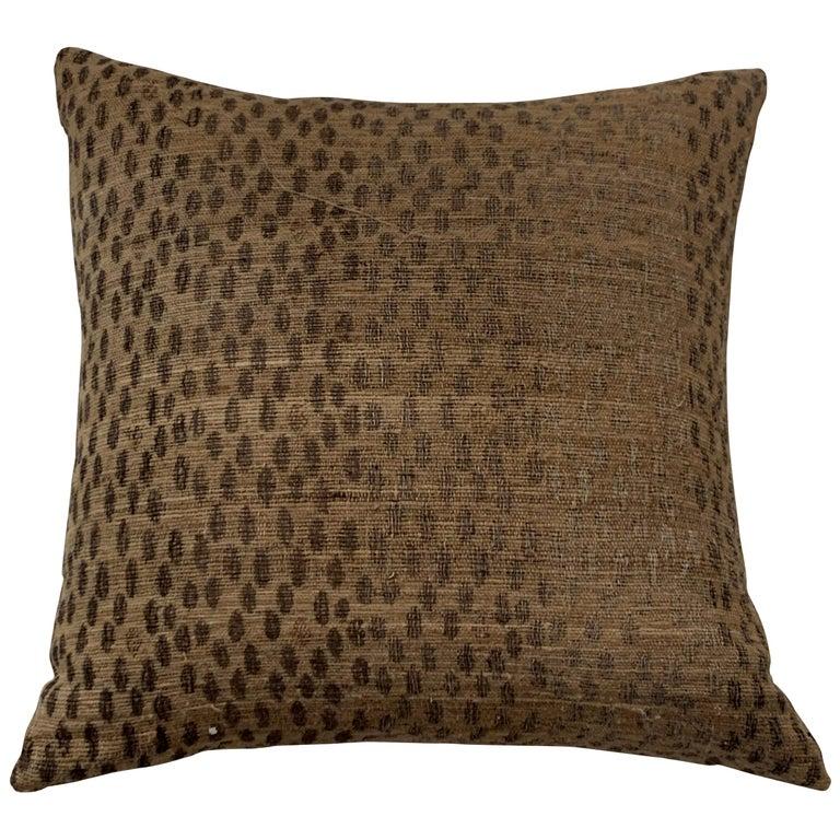 Light Brown, Dark Brown Animal Print Pattern Handspun Linen Pillows, Indonesia