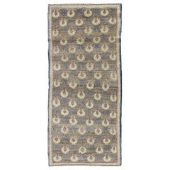Light Brown, Gray-Blue, and Cream Turkish Tulu Vintage Rug with Latticework
