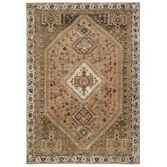 Light Brown Persian Shiraz Old Cropped Thin Handmade Bohemian Wool Rug