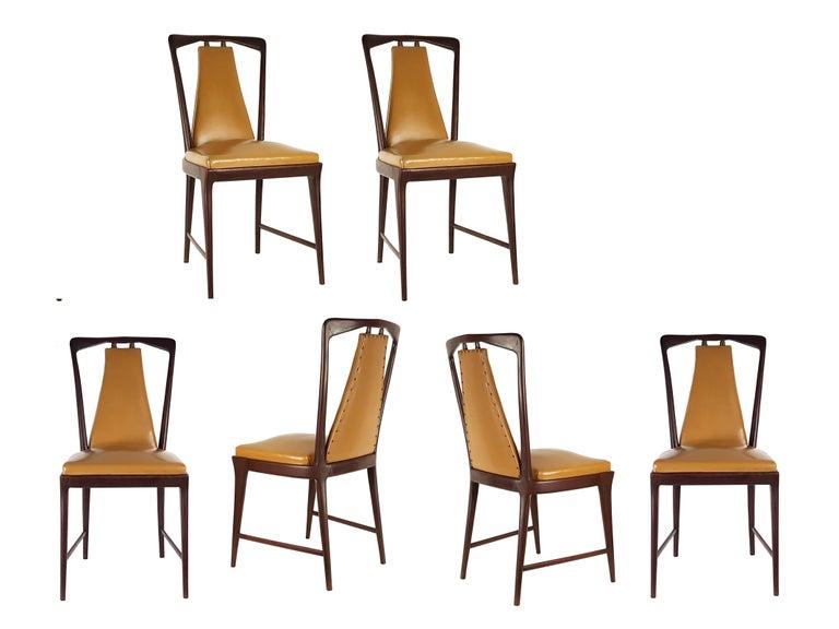 Mid-Century Modern Light-Brown Skai & Wood 1940s Dining Chairs style of Osvaldo Borsani For Sale