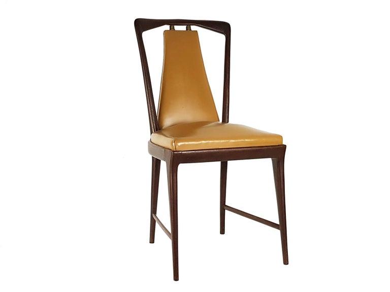 Mid-20th Century Light-Brown Skai & Wood 1940s Dining Chairs style of Osvaldo Borsani For Sale