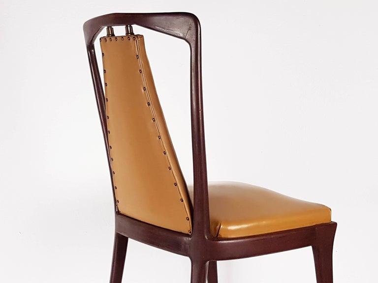 Brass Light-Brown Skai & Wood 1940s Dining Chairs style of Osvaldo Borsani For Sale